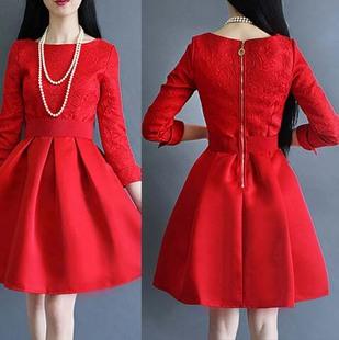 礼服短款结婚长袖蓬蓬裙大红色婚礼新娘敬酒服连衣裙回门春夏季