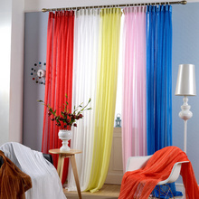 Buy one get one free yi jia ren Korean candy color sitting room balcony pure color natural folding screens curtain finished product customization