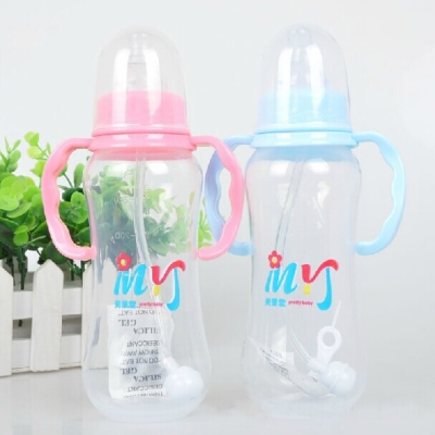 Baby products baby bottles standard PP plastic baby bottle with straw handle drop resistance against flatulence 280ml