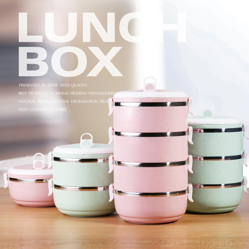 小麦304不锈钢饭盒分格便当盒学生餐盒可爱双层三层多层保温桶