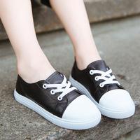 中大童秋季男女童鞋韩版上新儿童纯皮板鞋34码小白鞋一脚蹬懒人鞋