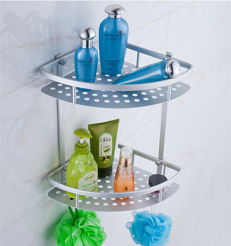 三角网篮_新品太空铝三角篮单层铝板置物架带钩 浴室卫生间网篮 双层转角架