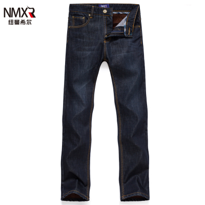 velvet jeans men straight thick warm autumn and winter 2014 men's denim trousers thick section tide