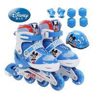 迪士尼正品轮滑鞋 直排轮儿童套装滑冰鞋全套可调溜冰鞋旱冰鞋