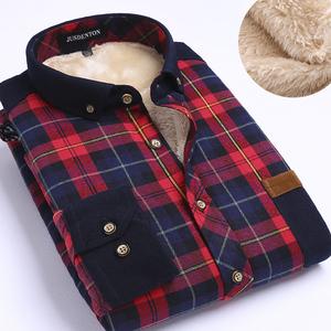 【天天特价】保暖格子拼接男士加绒加厚棉衬衫格仔灯芯绒男带绒衬