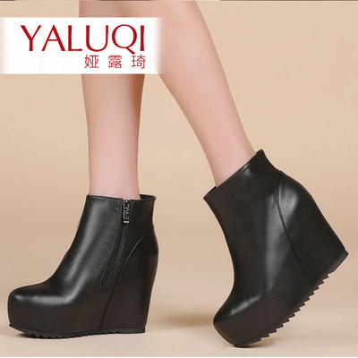 Ya Lu Qi winter new leather flat and bare slope with increased female shoes fashion boots