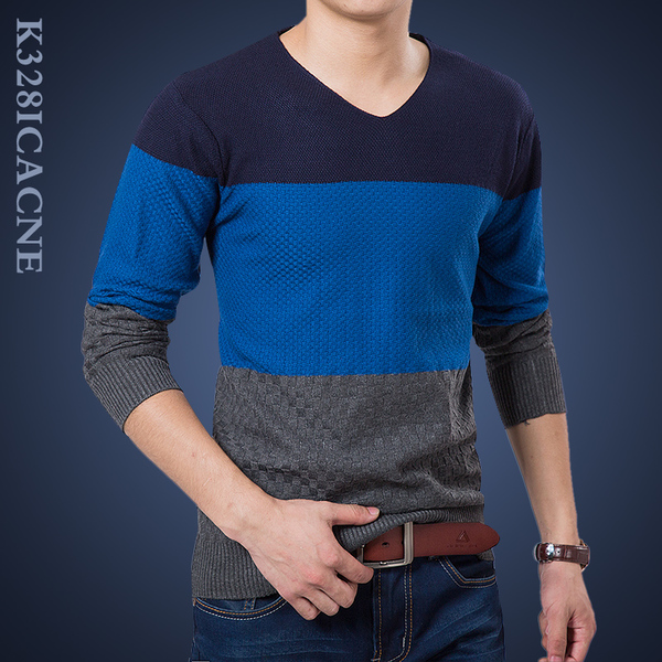 Autumn and winter new men's V-neck long-sleeved sweater stitching plus thick velvet Korean Slim hedging sweater sweater
