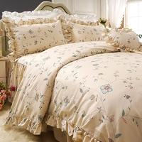 好梦连连欧美新款 荷叶边工艺全棉床罩床裙四件套床上用品1.8m2.0