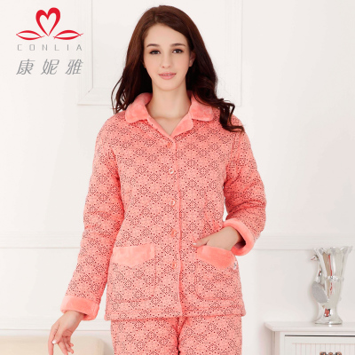 Ms. tracksuit winter kangniya lazy sweet thick coral velvet quilted cotton pajamas suit geometry