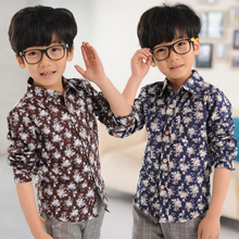 Little bear nannan spring 2015 new children's wear floral leisure British wind boy long-sleeved shirt