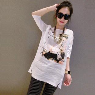 白色T恤夏季女装欧美纯棉宽松大码显瘦中袖衫中长款女体恤上衣潮