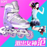 天鹅溜冰鞋成人女直排轮套装初学闪光单排旱冰鞋轮滑鞋成年男特价