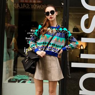 秋冬装2014短款针织衫提花抽象几何图案针织衫针织外套上衣女
