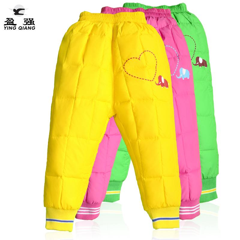 童装宝宝儿童羽绒裤内胆裤爱心小象男童女童长裤保暖冬裤子冬季