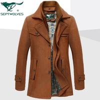 2015秋冬新款羊毛呢风衣男中年双层领大衣可拆卸领风衣爸爸装外套