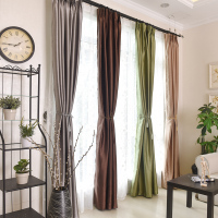 飘窗帘全遮光酒店现代简约卧室客厅定制成品落地窗纯色遮光窗帘