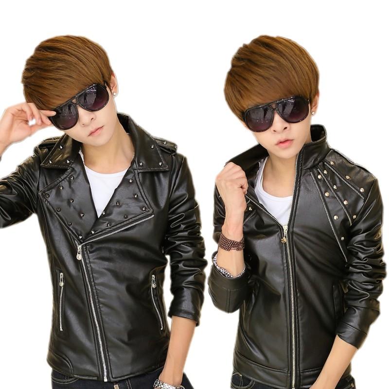 秋冬季男士韩版皮衣翻领PU外套修身青少年紧身个性机车夹克立领潮
