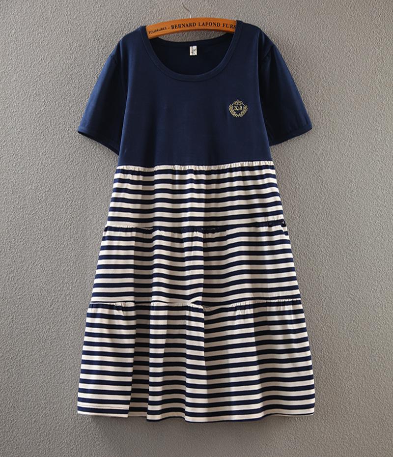 韩版时尚孕妇连衣裙短袖夏天大码条纹孕妇裙中长款孕妇装夏装