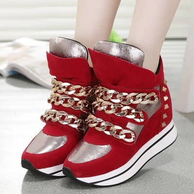 2014 autumn and winter in the Korean version of Velcro increased muffin spell color shoes sports shoes women shoes high tide