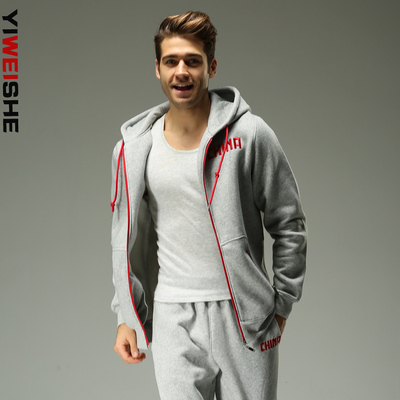 2014 autumn and winter thick fleece sweater male Chinese team sports basketball warm hoodie casual cardigan coat male