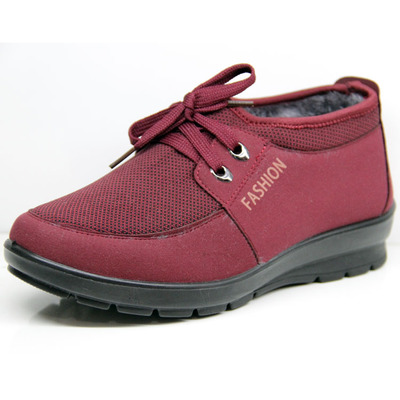 Old Beijing winter cotton-padded shoes in the elderly female models plus thick velvet high to help warm non-slip shoes big yards mom