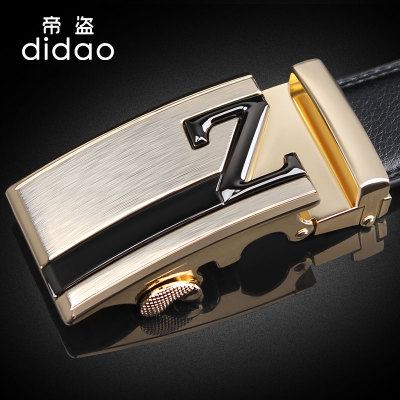 Men's leather belt men's Emperor Pirates pure leather belt buckle automatically stamping the letter Z alloy black belt