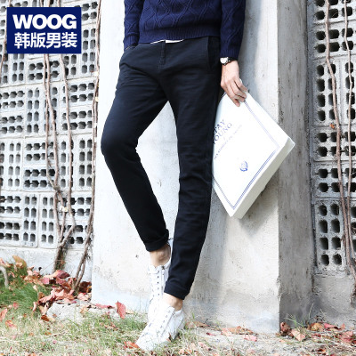 WOOG2005 Korean men's 2014 winter new men's black feet Wei pants tide stretch Slim casual pants