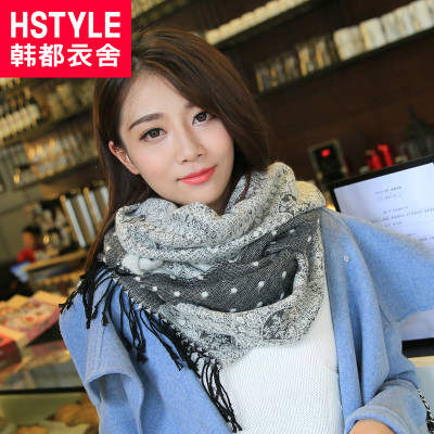 Korean homes have clothes 2014 winter new Korean wave point wild warm scarf fringed KH4115L38 Ling