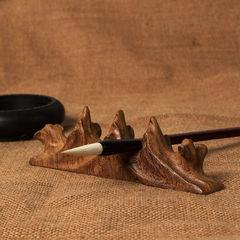 实木质根雕随形毛笔搁笔托 红木笔架山笔山鸡翅木雕文房四宝摆件