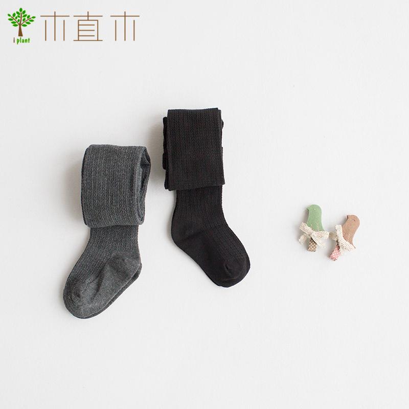 [植木制]配件 小女孩必备 棉质竖条纹深灰色打底裤/连裤袜