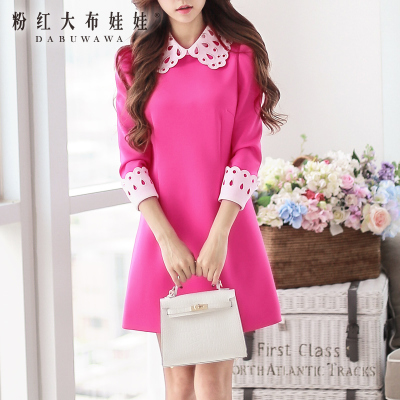 Fall and winter long-sleeved pink dress sale big doll retro laser cut collar A slew of new 2014 tide