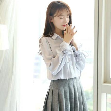 2017春装新款喇叭袖白色雪纺衬衫女长袖韩版宽松小清新灯笼袖上衣