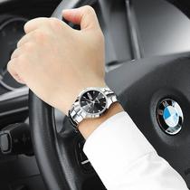 罗宾正品钨钢手表男表商务简约时尚潮流防水日历款男士手表石英表