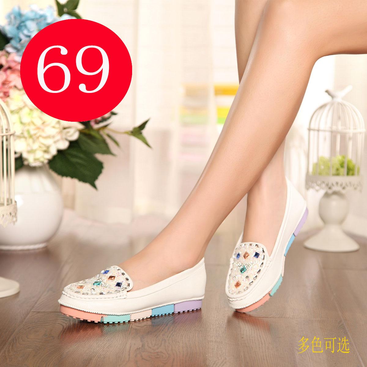 karoe卡罗尔新款单鞋包邮 浅口女鞋pu时尚圆头鞋平底鞋韩版t6692