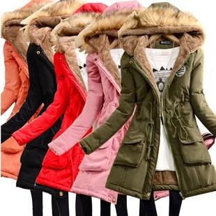 秋冬中长款棉衣女大毛领外套加绒加厚宽松棉袄