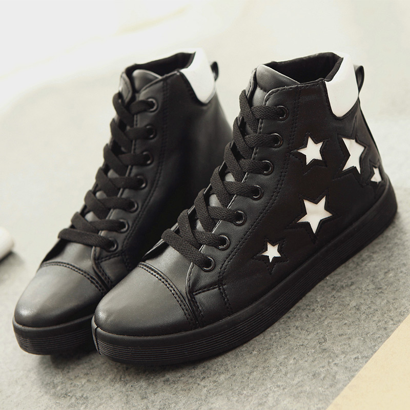 2014 winter new high-top shoes casual shoes heavy-bottomed platform shoes female Korean students tide line lace shoes