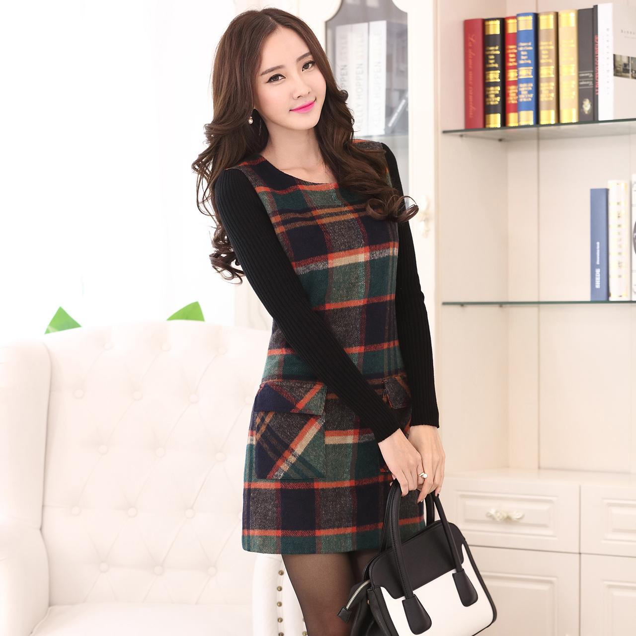2015冬装新款韩版气质显瘦大码女装中长毛呢裙长袖打底连衣裙秋冬