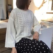 春秋时尚针织衫女套头宽松学生长袖白色镂空毛衣打底圆领上衣