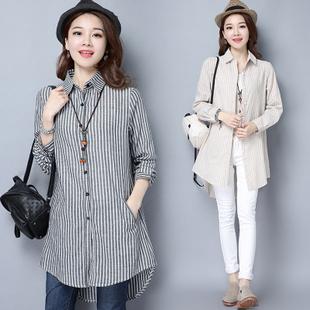 条纹棉麻长袖衬衫女衫土上衣服长衫长装外穿褂子忖棉布中年中长款