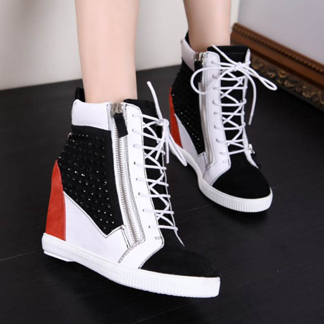 GZ increased the slope with mixed colors invisible elevator shoes leather shoes zipper hot drilling high shoes fashion shoes in Europe and America