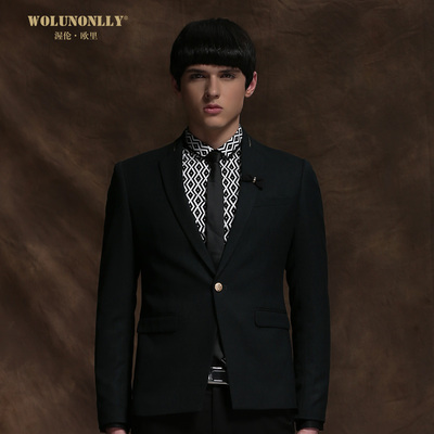 wolunonlly leisure suits men Slim tide men's 2014 Korean version of the men's suit single West thin coat
