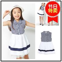 韩国童装Bam2016夏款女童学院风女童纯棉条纹连衣裙