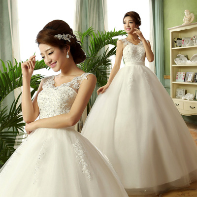 Korean princess bride wedding lace wedding dress for pregnant women Bra Qi word shoulder new winter 2014