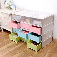 百露自由组合抽屉式收纳柜塑料抽屉柜宝宝衣柜衣物整理箱 储物柜