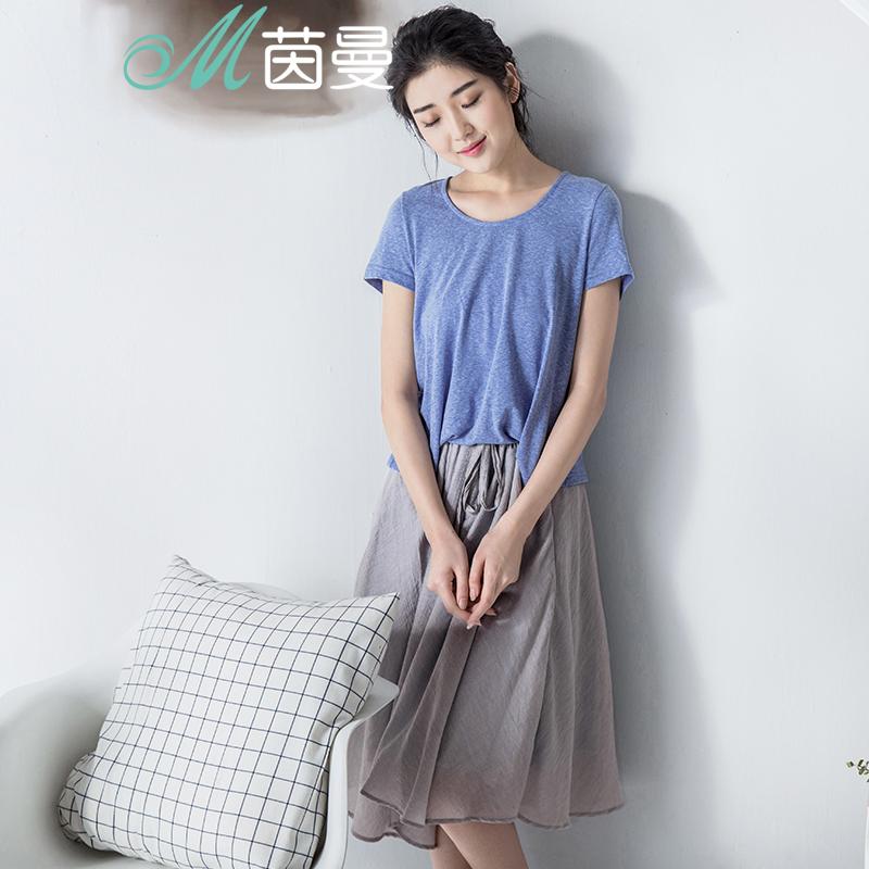 茵曼女装 夏季裙子短袖假两件连衣裙小清新a字裙中裙女8521020388