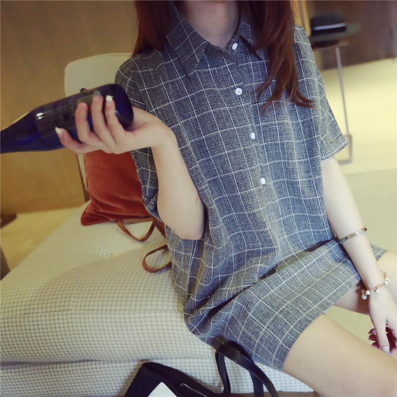 2015夏装新款韩范小清新格子衬衣蝙蝠短袖翻领休闲衬衫连衣裙女潮