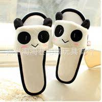 可爱熊猫/卡通动物系列薄棉露指拖鞋超柔短毛绒防滑塑胶鞋底