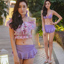 Hai xiang bikini hot spring bathing suits female body skirt boxer steel bracket swimsuit bikini three-piece little chest
