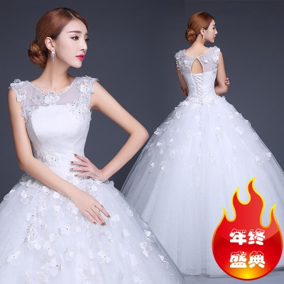 Bride wedding dress 2014 new winter fashion Slim models thick shoulders word shoulder was thin big yards Qi