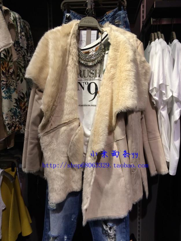 2014 новый BERSHKA магазин аутентичными августа плюшевые faux меховые женские пальто лацкан 6548407